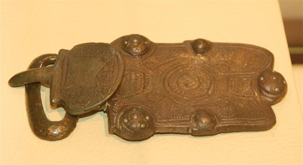 An early medieval belt-buckle found in the Basque cemetery of Buzaga, now in the Museo Romano Oiasso