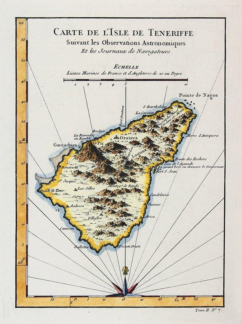 Tras su partida, las naves recalaron en la isla canaria de Tenerife (en la imagen, detalle de un mapa francés de hacia 1750), donde se aprovisionaron de agua y carbón.