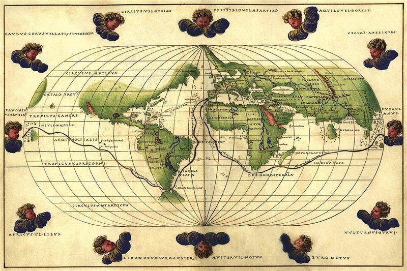 Recorrido de la expedición Magallanes-Elcano en una copia de 1544 del mapa del cartógrafo italiano Battista Agnese.