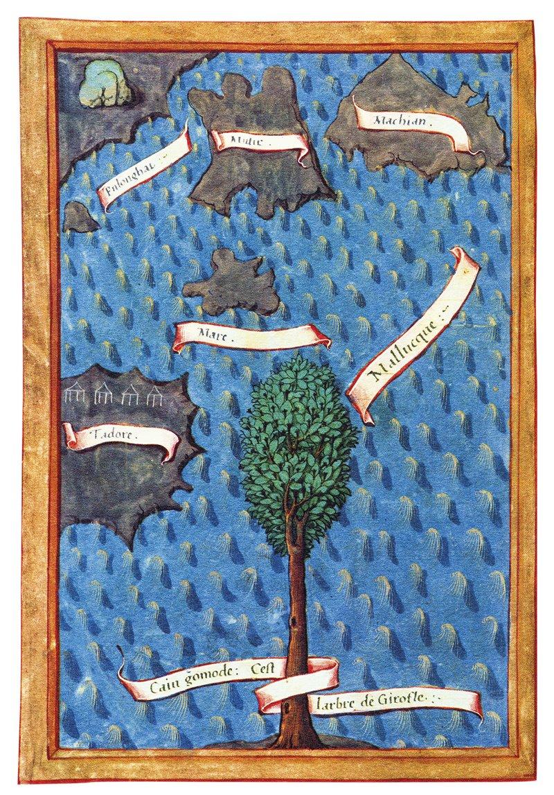"""Lámina de la """"Relación del primer viaje en torno al globo"""", de Antonio de Pigafetta, en la que se muestran las """"cinco islas donde crece el clavo y su árbol""""."""