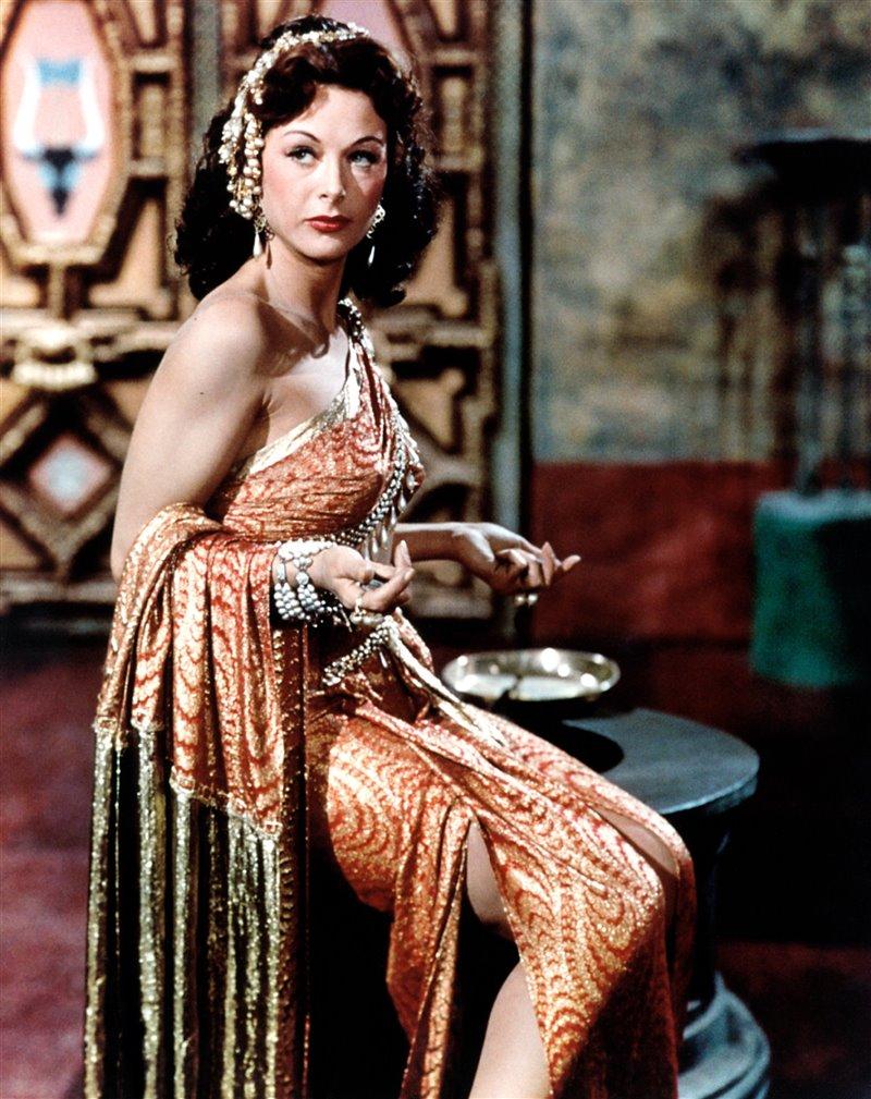 Hedy Lamarr durante un rodaje en 1949