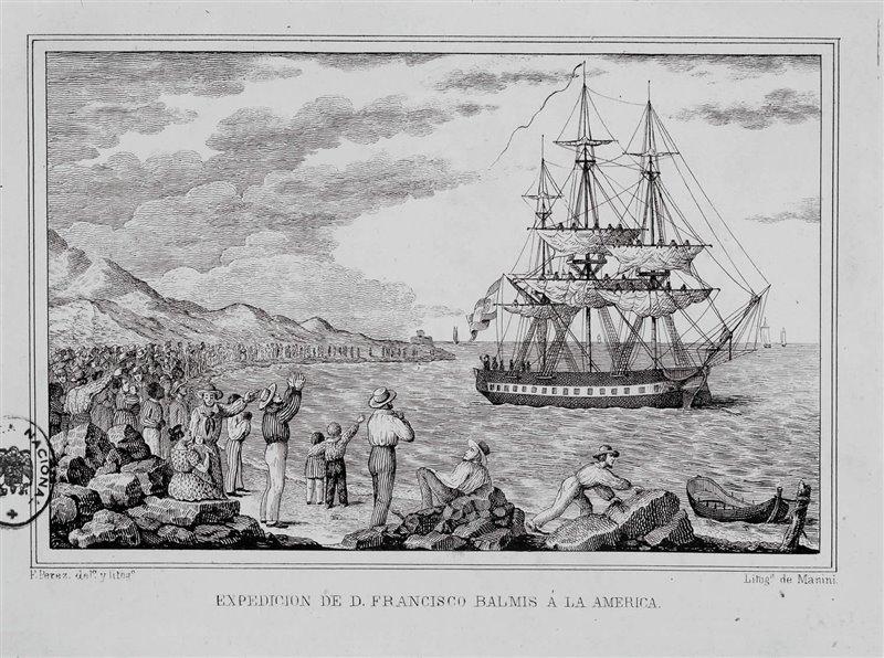 La corbeta María Pita sale de un puerto del Caribe en 1804.