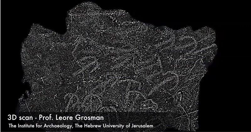 Escaneo en 3D de los grabados del techo del dolmen de Shamir.