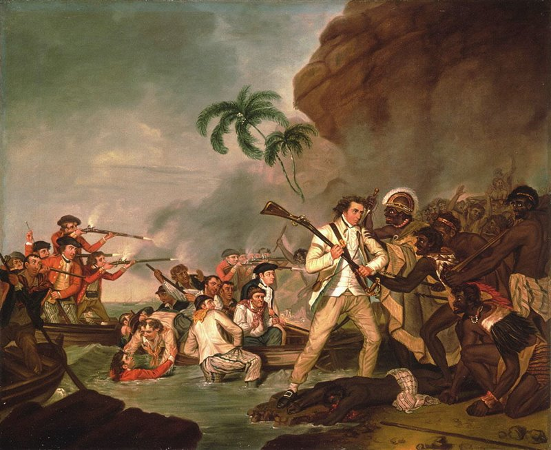 La muerte del Capitán James Cook, George Carter