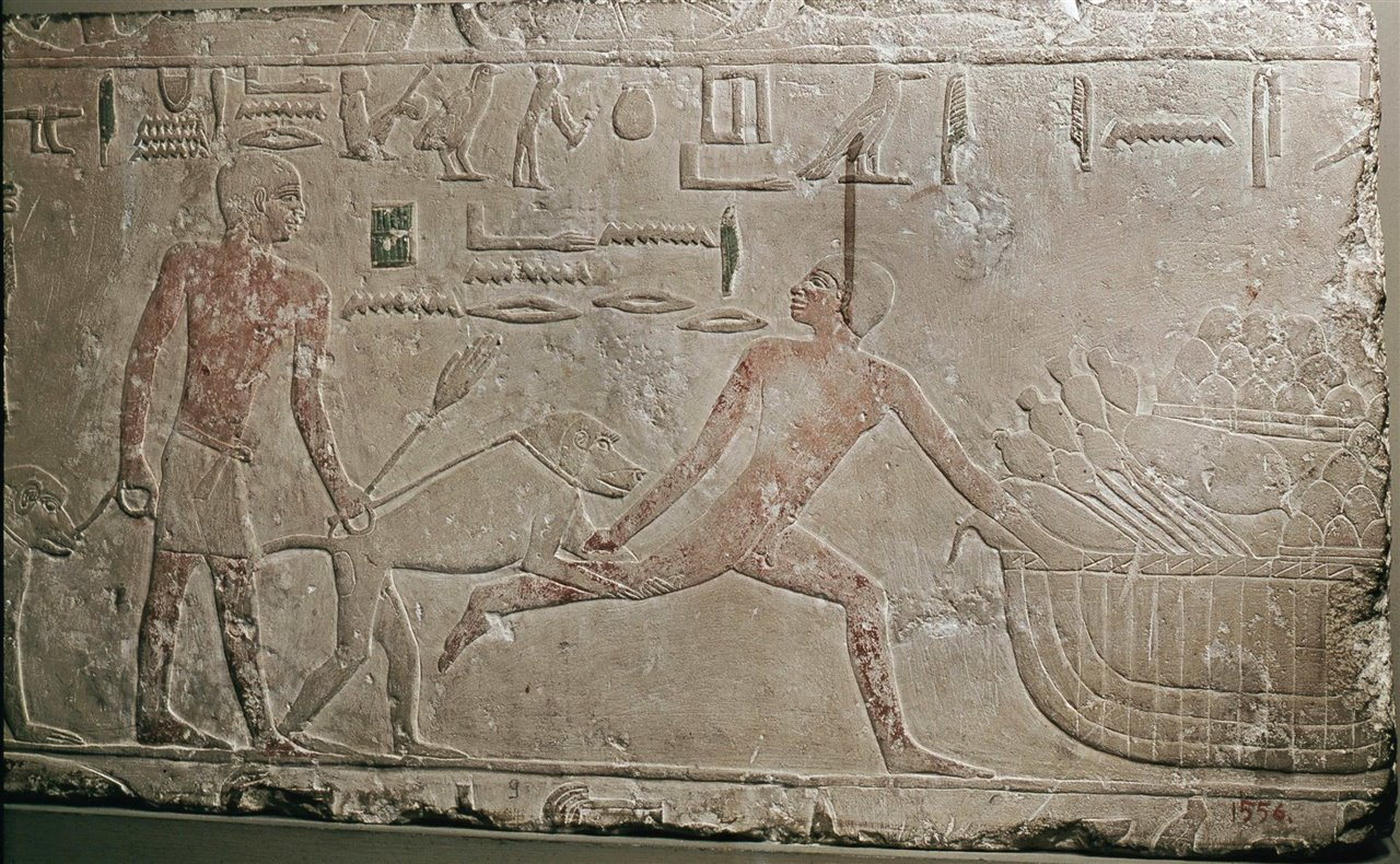 A police baboon helps catch a thief.  Relief from Saqqara.