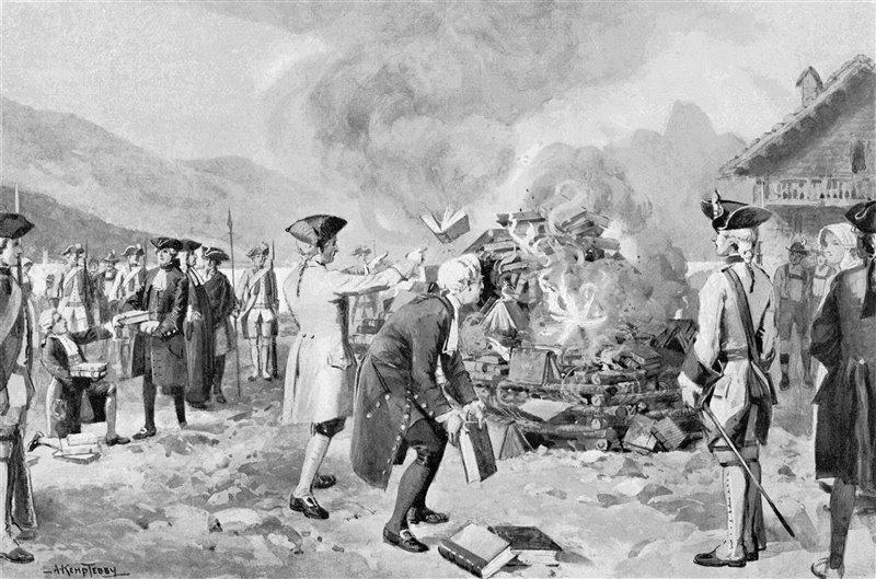Este grabado del siglo XX recrea la quema pública de 'El contrato Social' organizada en Ginebra en 1763.