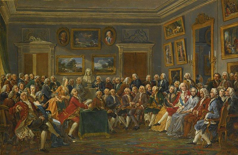 Las veladas literarias e intelectuales eran habituales en París. La pintura recrea la lectura de una obra de Voltaire en el salón de Madame Geoffrin.