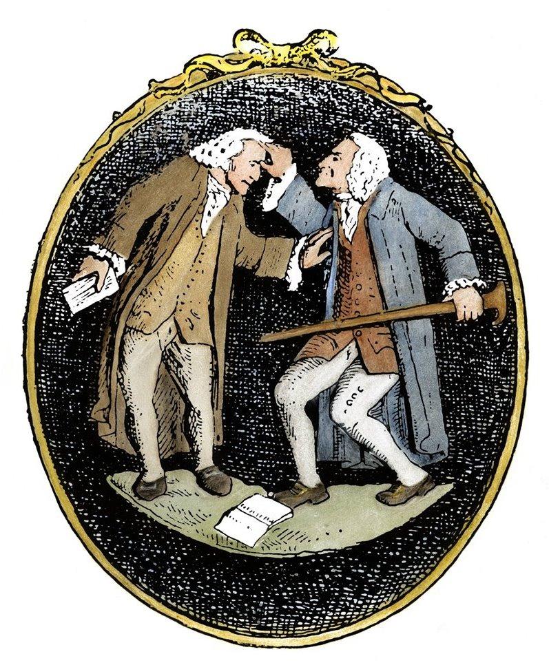 Una caricatura que recrea la animadversión entre Rousseau y Voltaire.
