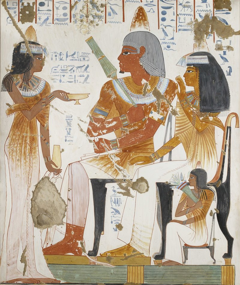 Una pareja asiste a un banquete. Sobre sus pelucas portan conos de perfume. Tumba de Nebamun e Ipuky.