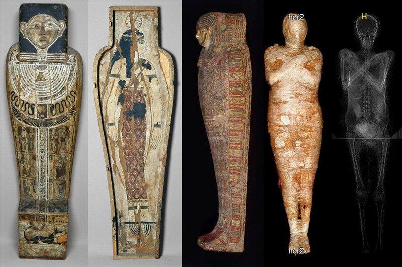 Ataúd, cartonaje, momia, tomografía computarizada y radiografía de la momia